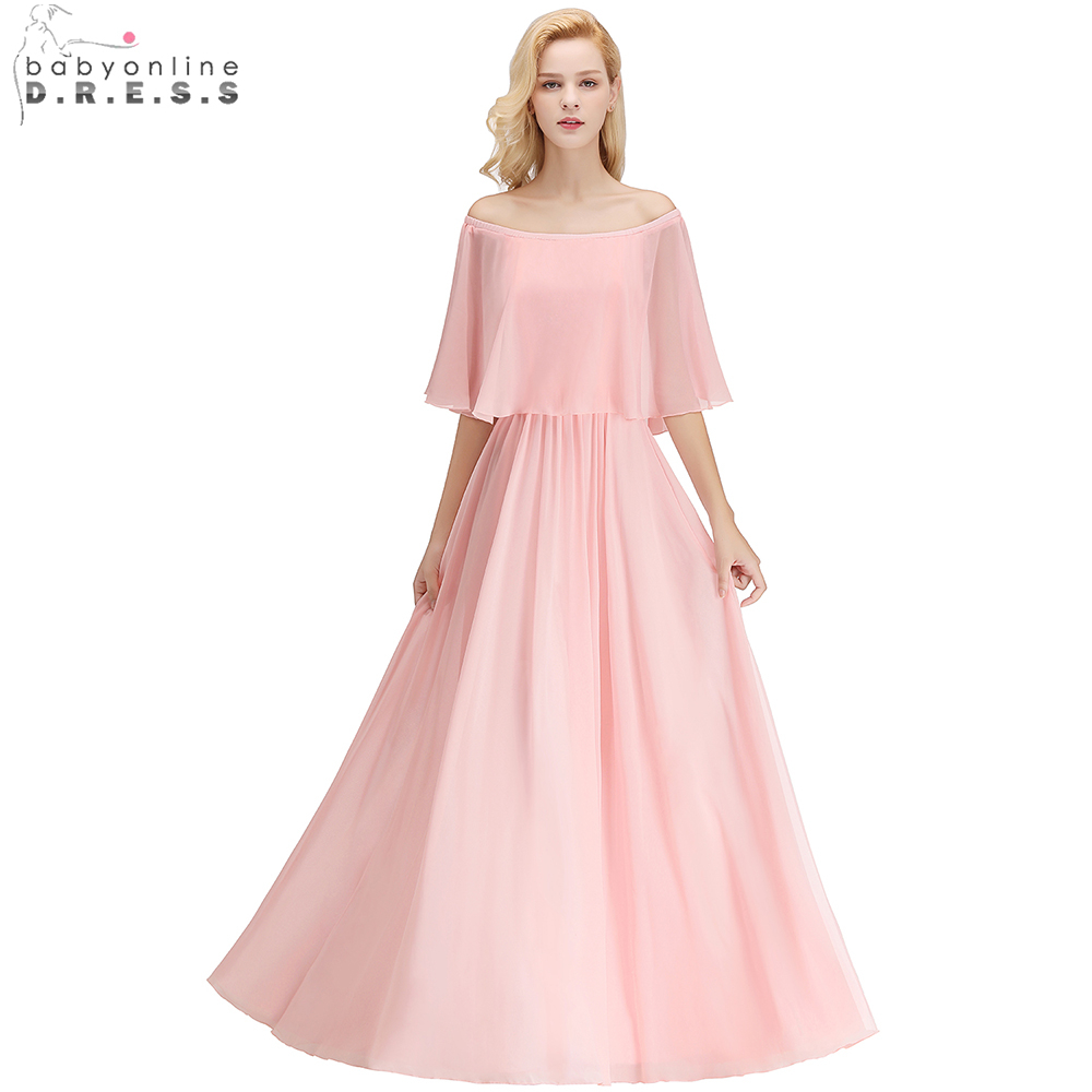 Babyonline Ruffles Off Shoulder Long Chiffon   Bridesmaid     Dresses   2019 Custom Made Wedding Party   Dresses   robe demoiselle d'honneur