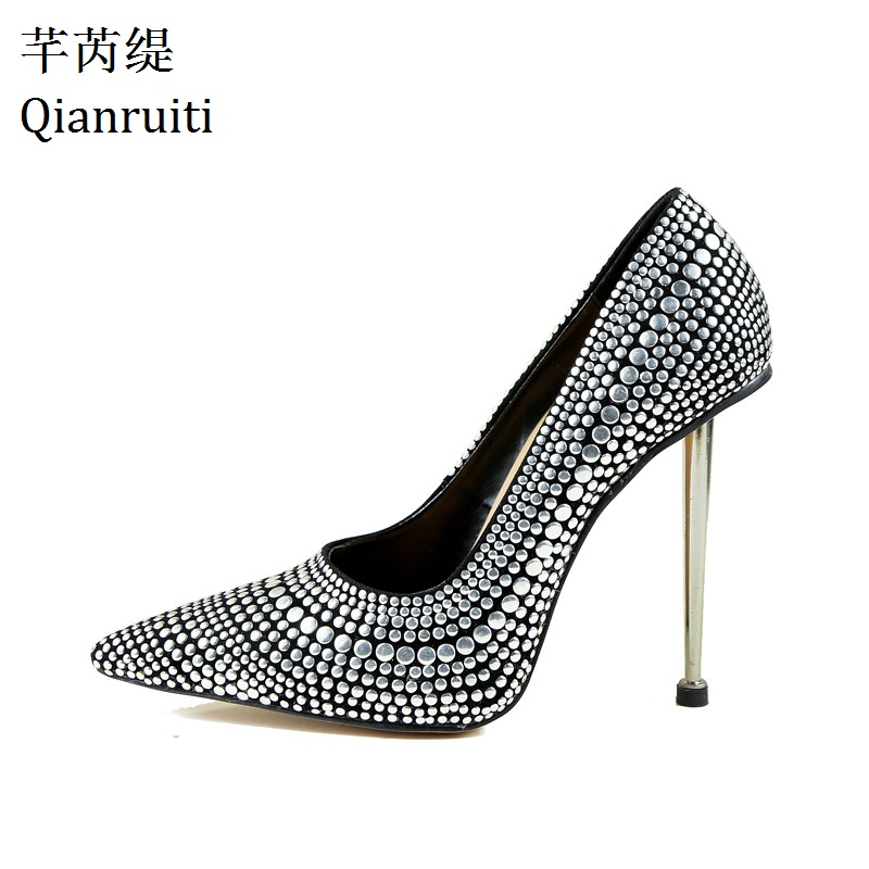Qianruiti Silver Studded Rivets 12CM High Heels Shoes Sexy Pointed Toe Night Club Women Shoes Metal Heels Slip-On Women Pumps extra f210 z 36 adjustable action camera fixing mount set for walkera f210 multicopter rc drone