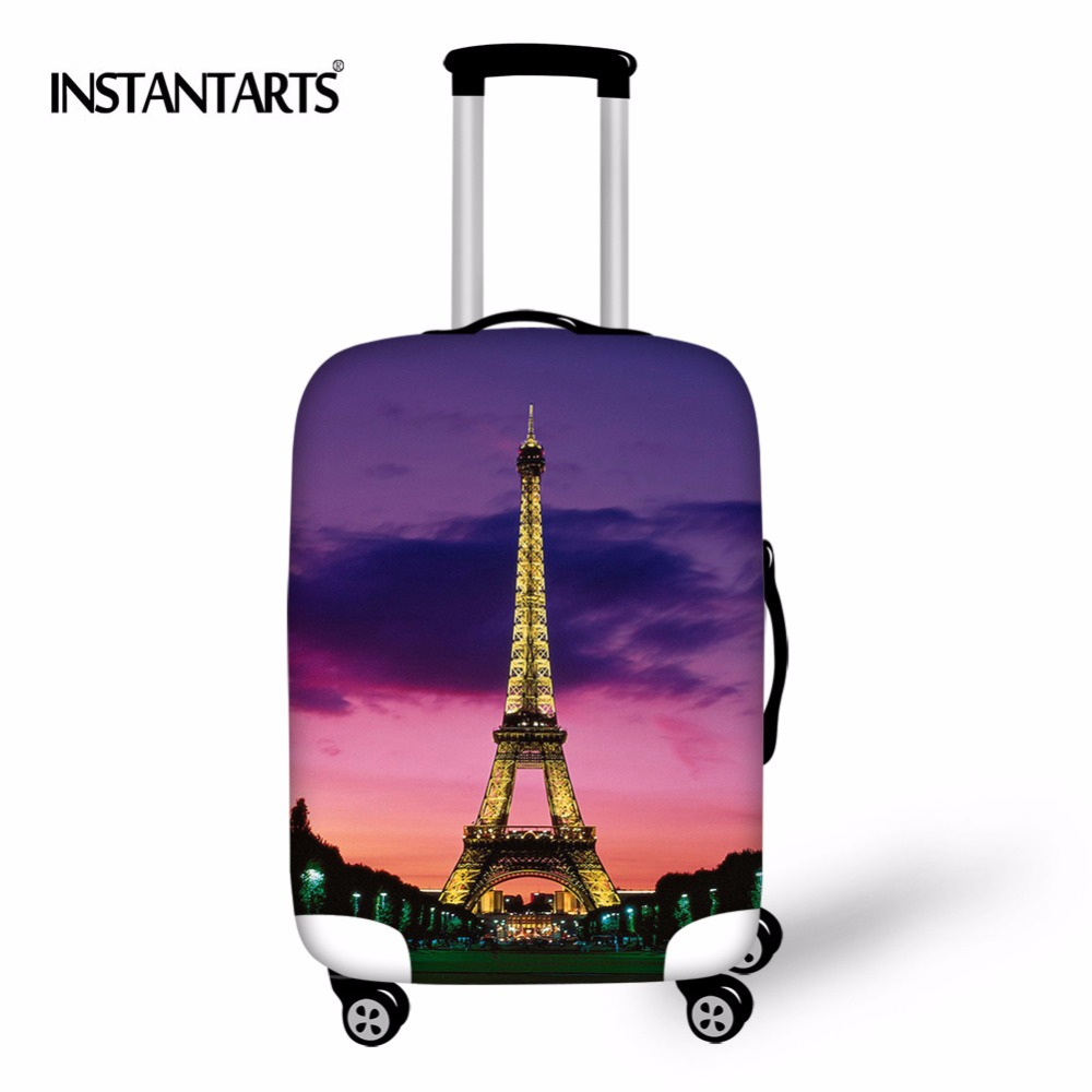 INSTANTARTS Eiffel Tower Printed Travel Suitcase Protective Cover Elastic Dust Case For 18-30 Inch Trolley Travel Accessories