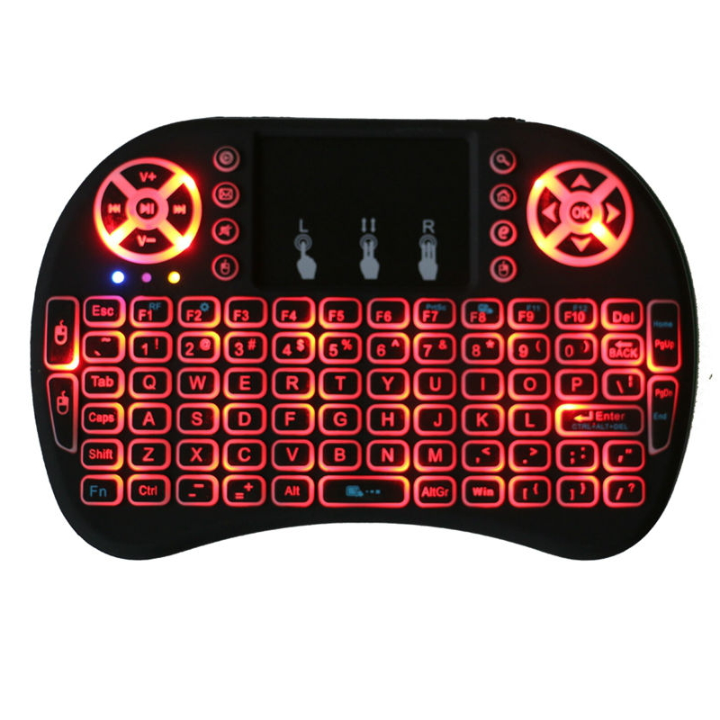 USB Backlit Keyboard Mini Wireless Keyboard 2.4Ghz Gaming Touchpad Air Mouse For Android ...