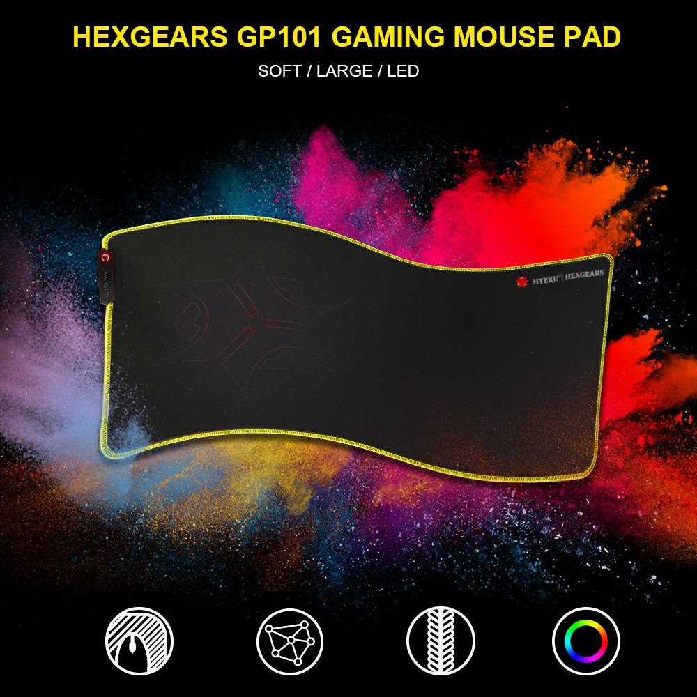 HEXGEARS Led Mouse Pad Large Thicken 780*5*355 mm Knitted Edge 7 Color Rubber Base Big Gaming Gamer Soft Mousepad Mause Mat hexgears large size led gaming mouse pad 780 5 355 mm knitted edge professional rubber bases 7 color usb port gamer mouse pad