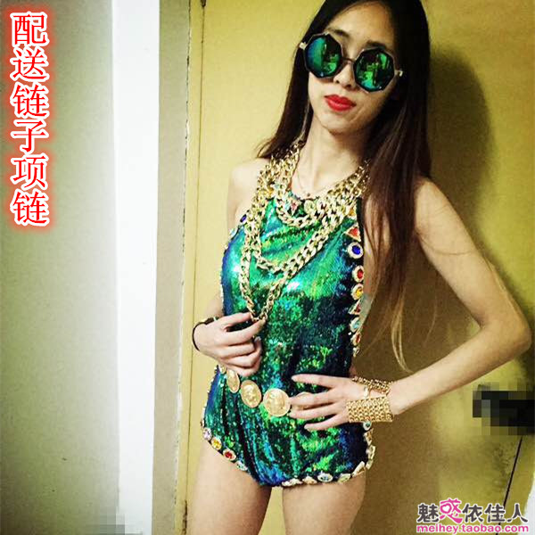2020 Green Women Costumes Lady Star Style Handmade Rhinestone One-piece Female Ds Costume Stage Performance Jumpsuit Sets