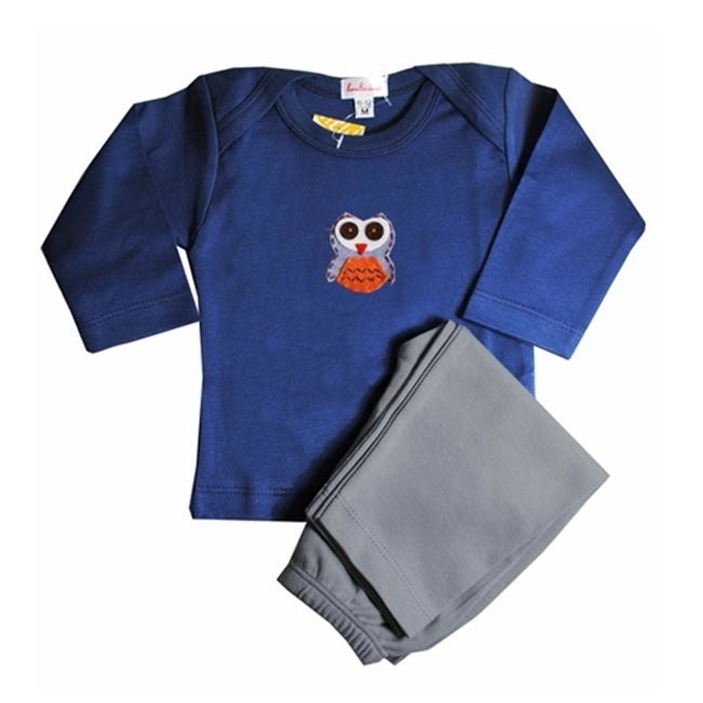 Loralin Design BNO6 Owl Outfit – Blue 6-12 Months