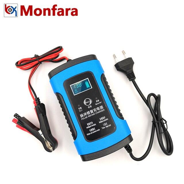 12 V 6A cargador de batería de motocicleta de coche automático completo inteligente plomo ácido 6 A carga Digital LCD pantalla 220 V 10 20 AMP