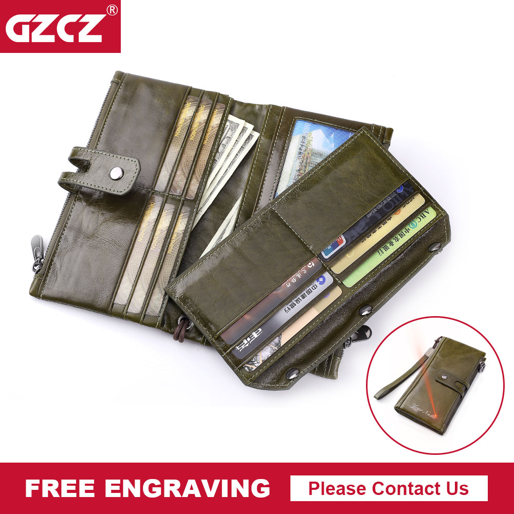 GZCZ Woman Wallet Clutch Genuine Leather Walet Rfid Lady Organizer Cell Phone Clutch Bag Long Coin Purse Portomonee Free Engrave недорого