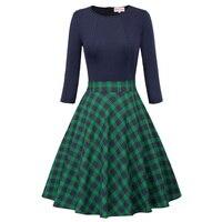 Ladies Autumn Dress Plaid Vintage Rockabilly 50s Clothes Women Elegant Party Dress 3 4 Sleeve Patchwork