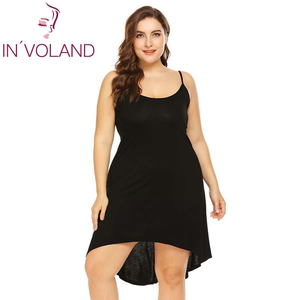 IN'VOLAND Women Sleepwear Dress Nightgowns Plus Size XL-5XL Adjustable Spaghetti Strap Cami Sleep Dresses Sleepshirts Oversized 1