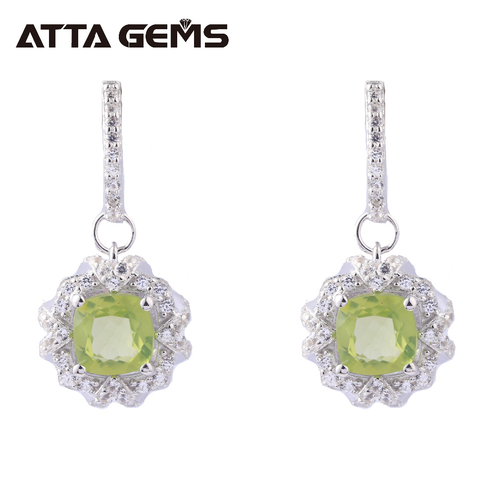 Natural Peridot Sterling Silver Drop Earrings 2.2 Carats Natural Peridot August Birthstone for Women Top Quality S925 EarringNatural Peridot Sterling Silver Drop Earrings 2.2 Carats Natural Peridot August Birthstone for Women Top Quality S925 Earring