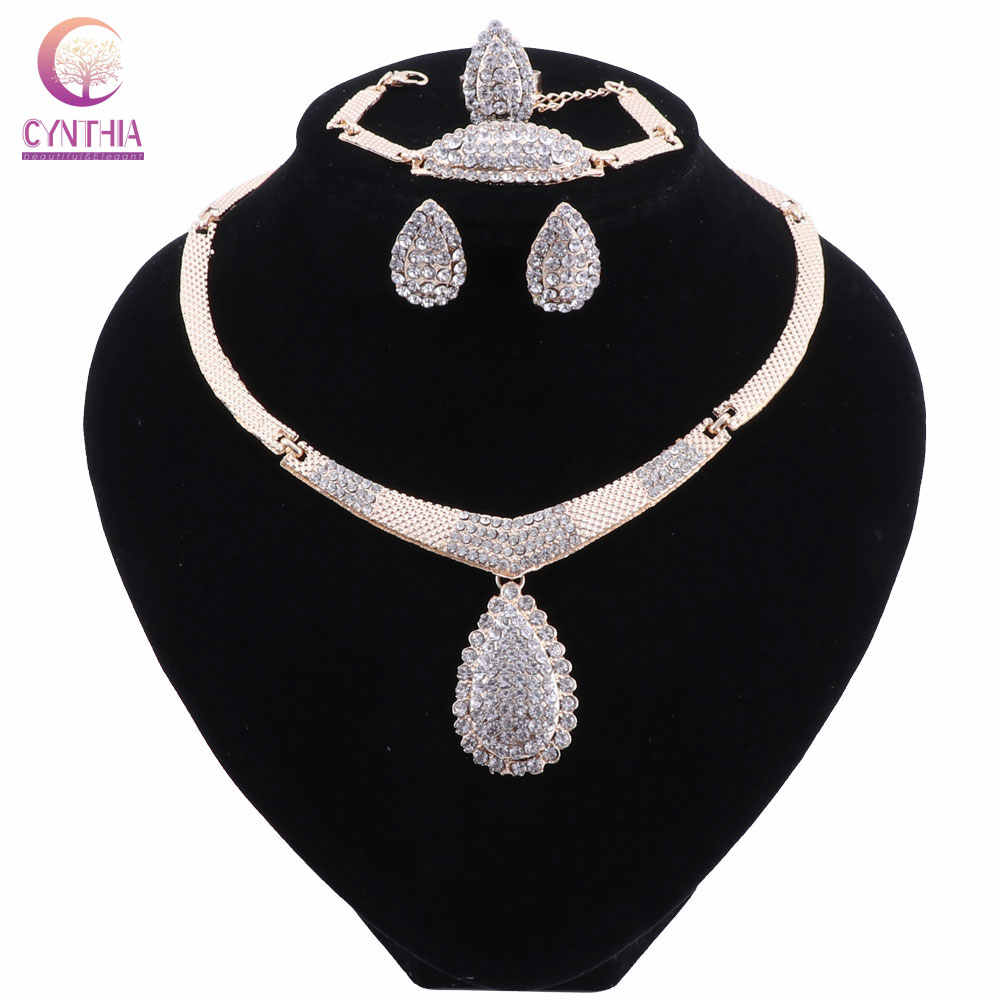 Dubai Jewelry Sets Nigerian Wedding Sets African Gold Color Indian Bridal Jewellery Sets For Women Turkish Jewelry