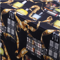 108cm Width 19mm Perfume Chains Print Black Mulberry Silk Stretch Satin Fabric for Woman Summer Dress Blouse Sewing BF023