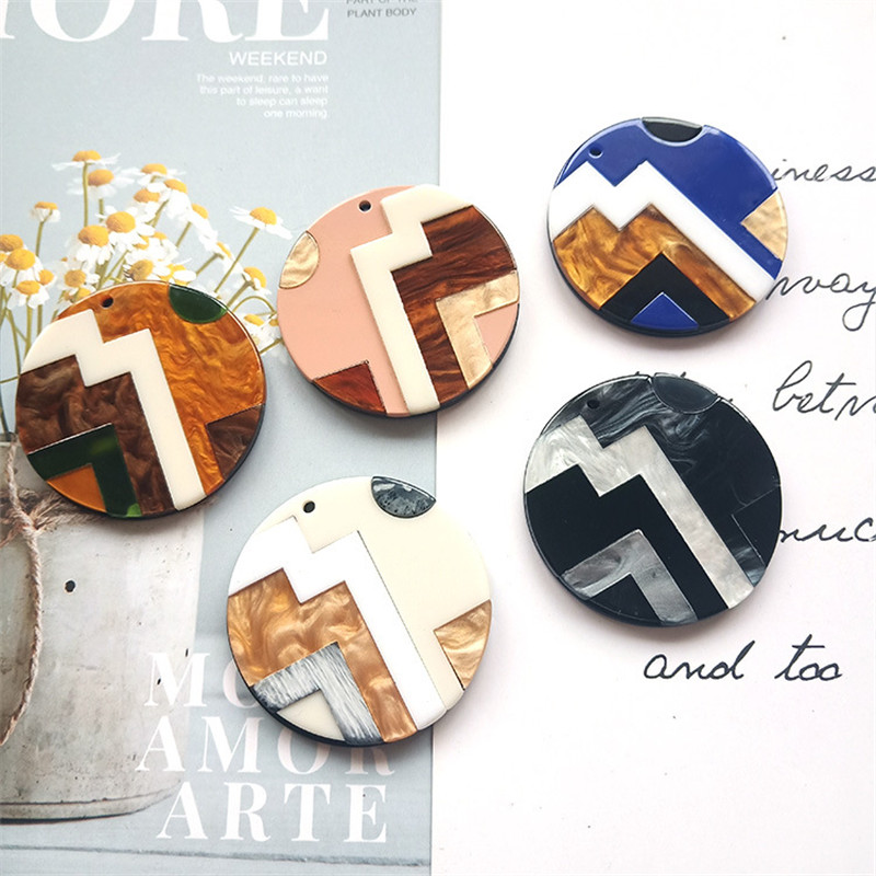 Round Square Fashion Unique 2pcslot Bright Acrylic Imitate Marble Texture Coin-shape Charms for EarringJewelry DIY ET52 (1)