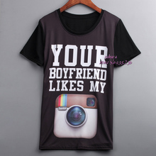 YOUR BOYFRIEND LIKES MY INSTAGRAM Printed Women T shirt Short Sleeve Cool Rock Casual T-shirt Tops Tees Clothing