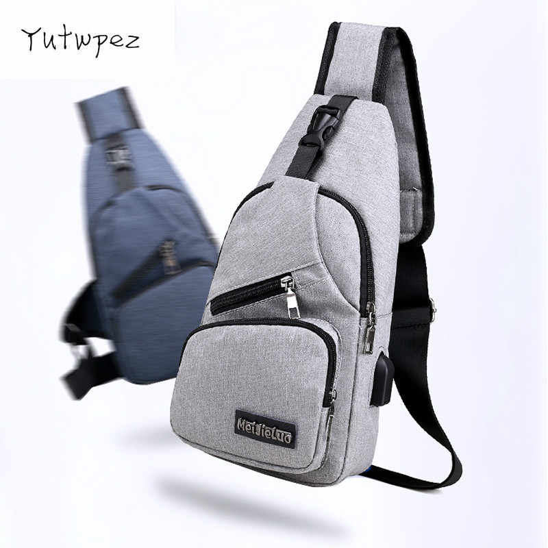 Travel Sling Shoulder USB Charge Chest Bag for Men Casual Multifunction Waterproof Crossbody Bag Women Short Trip 2019 Tote Bag