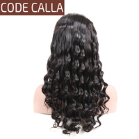 Code Calla Loose Wave Full Lace Wigs Peruvian Remy Virgin Human Hair Pre Plucked Natural Hairline 130% Density Black 1B Color