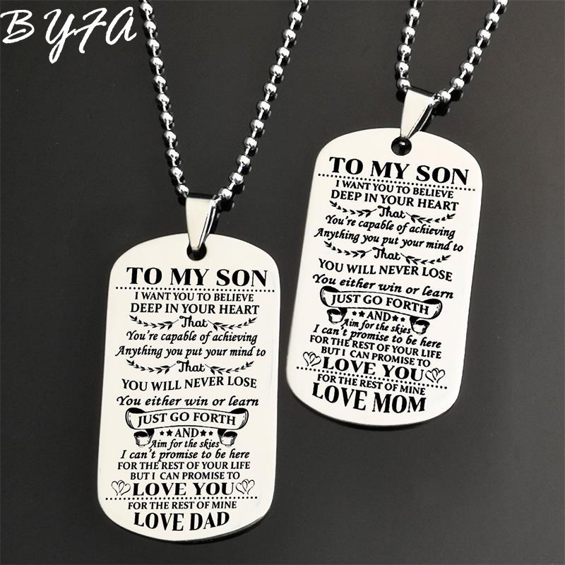 TO MY SON DAUGHTER Pendant Necklace Love Dad Mum Tag Necklaces Jewelry Kids Gift