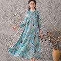 Женщины Плюс Размер Платья Осень Новая Мода Плюс Размер Повседневная Шелковая Печать Макси Платье Весна Элегантный Три Четверти Рукав Платья