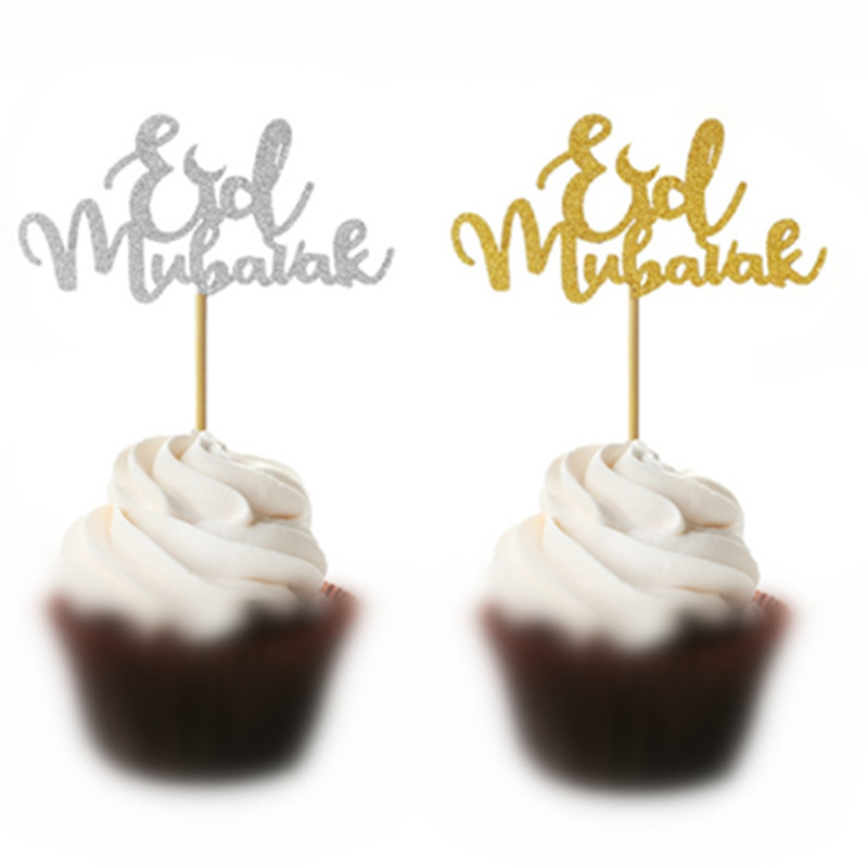 High Quality Glitter Paper Happy Eid Mubarak Cupcake Toppers For Muslim Eid Party Decoration Gold Silver Eid Decor