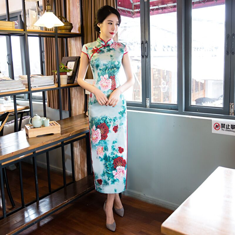 Fashion Chinese Style Women's Long Cheongsam New Arrival Rayon Dress Elegant Qipao Vestidos Size S M L XL XXL XXXL 125735 женское платье other 2015 o vestidos s m l xl xxl