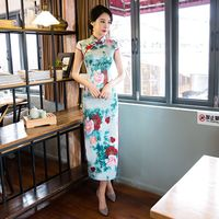 Fashion Chinese Style Women S Long Cheongsam New Arrival Rayon Dress Elegant Qipao Vestidos Size S