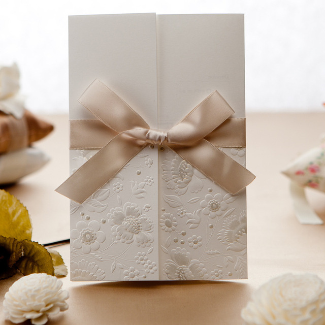 Embossed Flower Wedding Invitations with Ribbon Bow Personalized
