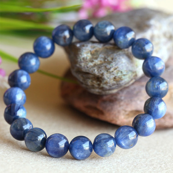 Discount Wholesale Natural Blue Kyanite Crystal Men's Stretch Finish Bracelet Round Beads 9.5mm