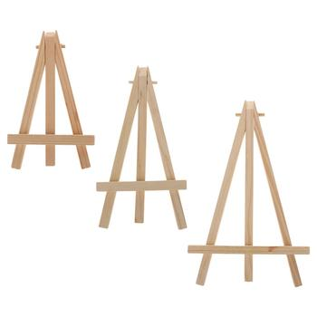 Natural Wood Mini Easel Frame Tripod Display Meeting Wedding Table Number Name Card Stand Display Holder Children Painting image