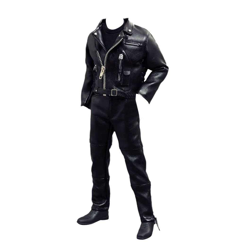 New 1/6 Male Riders Clothes Black PU Leather Jacket Locomotive Suit Action Figure Toys Clothes for Hot Toys Dolls Accessories