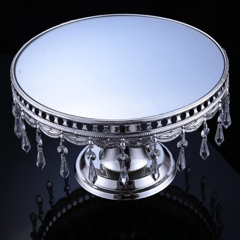 31 CM cristal perles gâteau Stand argent plaqué miroir Surface Dessert Stand 12 ''mariage fête Table décoration miroir gâteau Stand