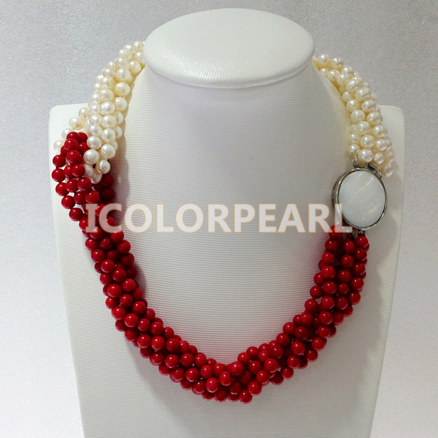 6-Strand 6-7mm White Nearround Natural Freshwater Pearl And Red Coral Necklace.Best for Bridal Jewelry!