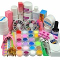 Acrylic Powder Liquid Nail Art Kit Manicure Set Nail UV Gel Varnish Topcoat Primer Tips Glitter Rhinestone Block Nail Art Tools
