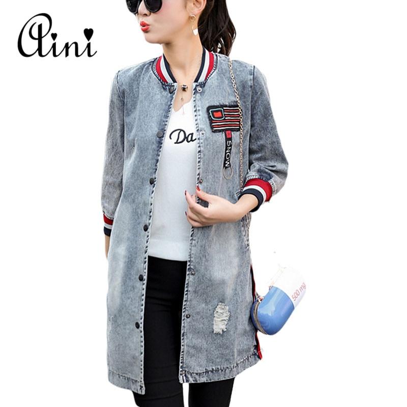 Moda primavera mujeres casual vintage denim jacket women clothing jeans de manga