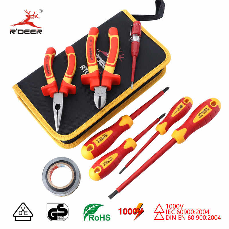 Insulated Screwdriver Set VDE 1000V Magnetic Screw Driver 6'' 8'' Wire Cutter CR-V Long Nose Pliers Electrician Repair Tools