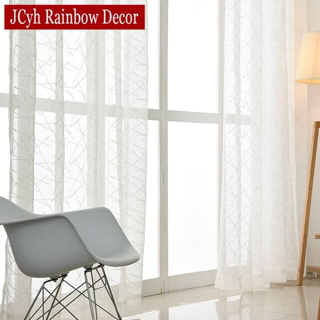 Ricamato Bianco di Tulle Tende Finestra A Righe Voile Tende Per Soggiorno camera Da Letto Moderna pannello di progettazione Tenda Organza