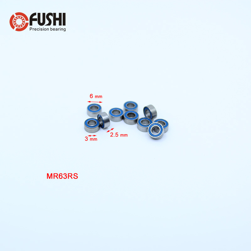10 PCS ABEC-3 4x7x2.5 mm Rubber Sealed Ball Bearing Blue MR74-2RS MR74RS