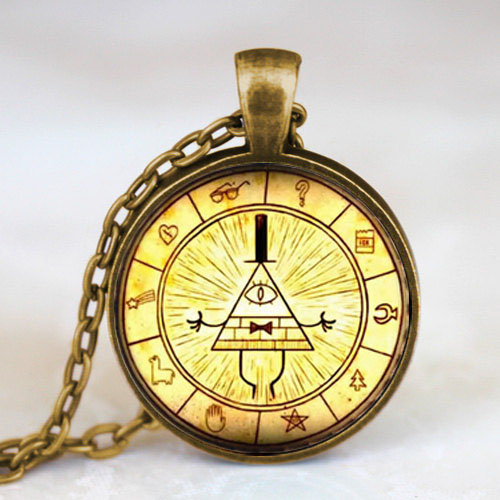 Steampunk Gravity Falls mabel pig BILL CIPHER WHEEL best friends gift Pendant Necklace doctor who 1pcs/lot vintage earring toy