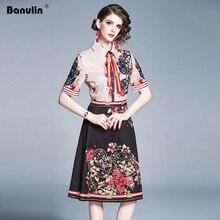 Banulin Runway Designer Summer Dresses Womens Short Sleeve Bow Tie Stripe Floral Knee Length Vintage Party Dress