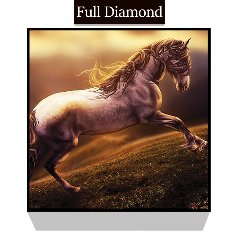 Horse animal DIY Full Resin Round Diamond Painting Square Mosaics Cross Stitch Embroidery Stones Painting Craft gift
