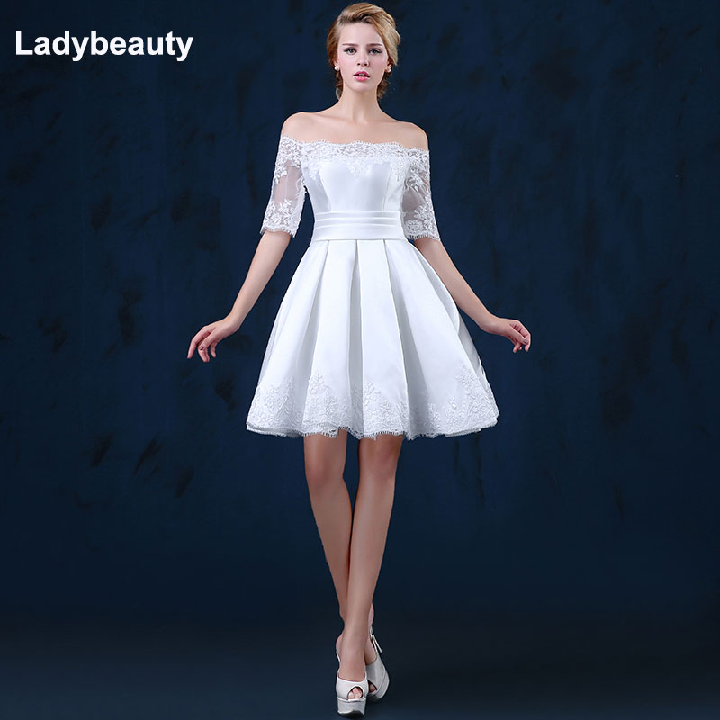 Ladybeauty 2018 white short wedding dresses the bride sexy lace wedding dress bridal gown plus size
