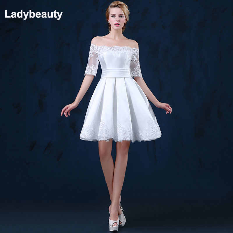 8d6a7aa74d10 Ladybeauty 2018 white short wedding dresses the bride sexy lace wedding  dress bridal gown plus size
