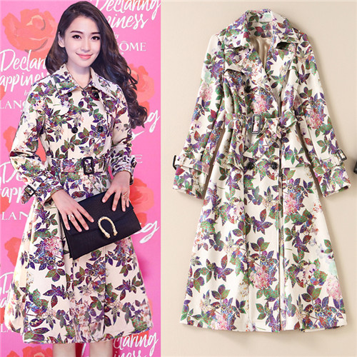2018 Women Female coat British Middle Long Elegant Trench Coat Designer Belted Double Breasted trench coat Floral printed Suede
