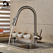Nickel gebürstet Pull Out-tülle Swivel Kitchen Sink Mischbatterie Handgriff-plattform Berg Wasserhahn
