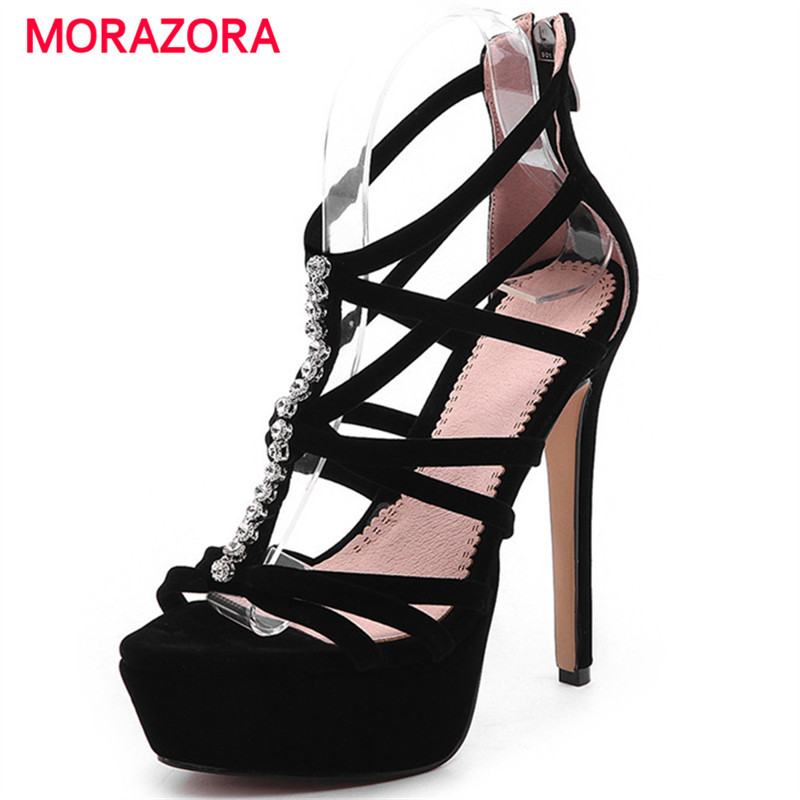 0dd91465c41 MORAZORA Plus size 33-43 New 2018 women sandals high heels gladiator  sandals women ladies fashio ...