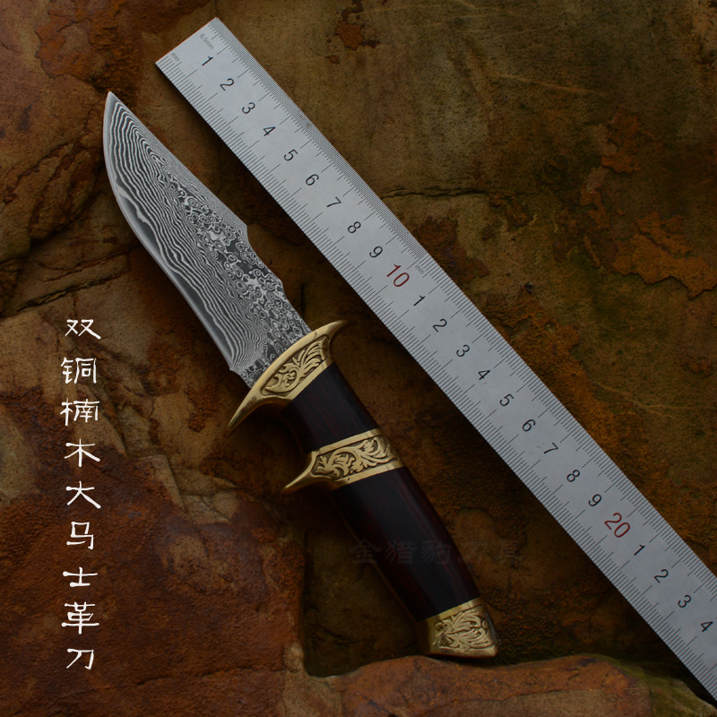 High Grade Gold Wood Damascus font b Knife b font Damascus Steel Fixed Collections Outdoor Tool