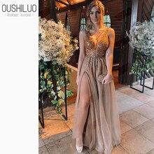 2019 Elegant Champagne V Neck Long Prom Dresses Sequined App