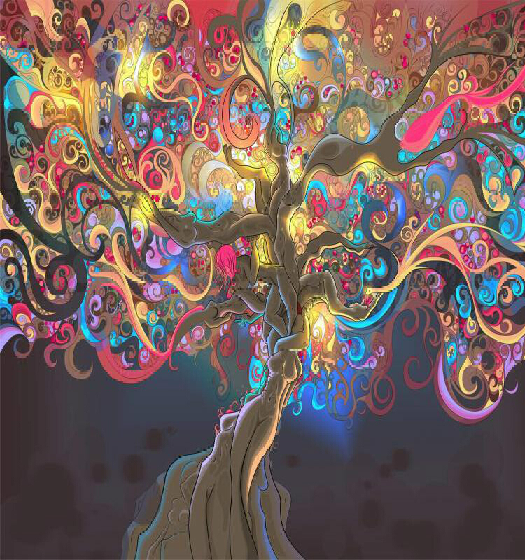 Buy abstract tree oil canvas printing 3d for Abstract mural painting