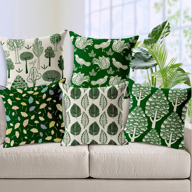 green country decor forest leaves cushion cover decorative sofa