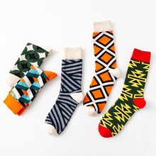 Fashion Casual Cotton Socks Men Autumn Color Striped Harajuku Style Square Lattice Multicolor Sock Unisex