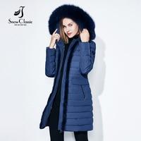 SnowClassic Winter Long Women's Cotton Down Jacket Warm Windbreaker Fur Collar Slim Hat Fashion European Style 2018 new