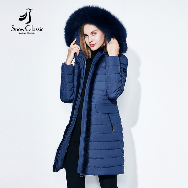 SnowClassic winter long jacket women warm coat fashion spring outwear solid slim thick jacket front edge fox fur collar 2017 new