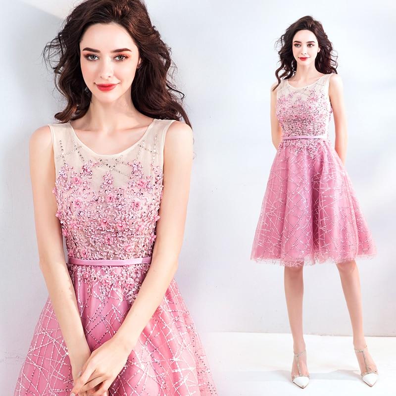 2018 new stock plus size women pregnant   bridesmaid     dresses   wedding party lace flower A line sexy romantic cheap pink   dress